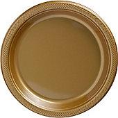 Gold Serving Plates - 26cm Plastic Party Plates - 50 Pack