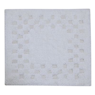 Homescapes Cotton Check Border White Shower Mat