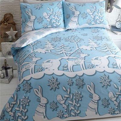 Mountain Snow, Christmas Themed King Size Bedding - Blue