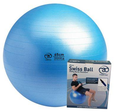 Fitness-Mad Swiss Ball, Pump & DVD Blue 65cm