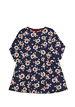 F&F Reindeer Print Christmas Dress - Navy