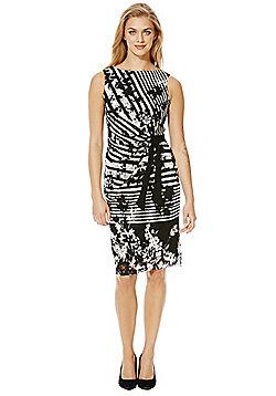 Roman Originals Striped Lace Shift Dress - Black & White