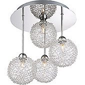 Stylish 4-Rod Chrome Ceiling Light with Unique Wire Mesh Shades