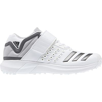adidas adiPower Vector Mid Mens Adult Cricket Spike Shoe White/Grey - UK 7.5