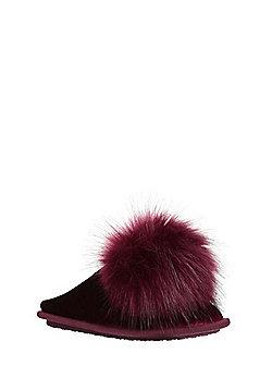 F&F Pom Pom Velour Mule Slippers - Purple
