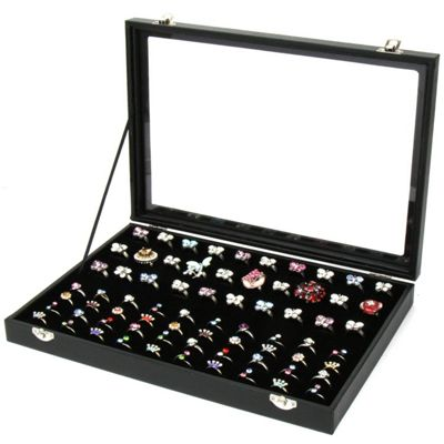 Jewellery Box For Rings & Earrings Holds 100 Rings Real Wood Soft Velvet Ring Pads