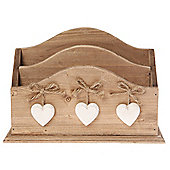 Farmhouse - Solid Wood Double Heart Letter / Tidy / Storage Tray - Natural