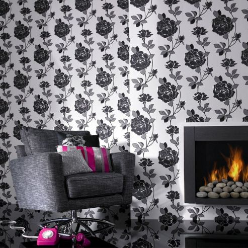 Superfresco Rosey Wallpaper - Black