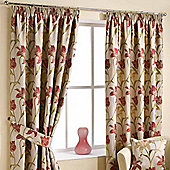 """Homescapes Cream Ready Made Jacquard Curtain Pair Floral Tapestry Design 66x90"""""""