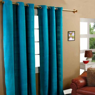 Homescapes Cotton Rajput Ribbed Teal Curtain Pair, 66 x 72