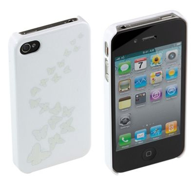 Trendz Hard Clip-On Case for iPhone 4/4S - White with Butterflies