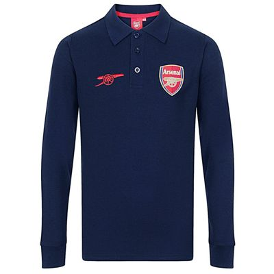 Arsenal FC Boys Long Sleeve Polo Shirt Navy 8-9 Years