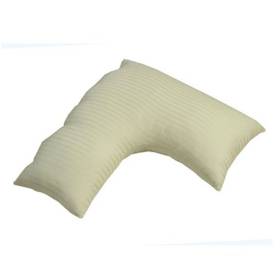 Homescapes Egyptian Cotton Sage Green V Shaped Pillow Case Soft Satin Stripe 330 TC Pillow Cover for Orthopaedic/Pregnancy Pillow