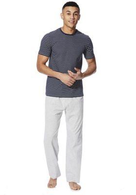 F&F Striped Marl Loungewear Set Navy/Grey 2XL