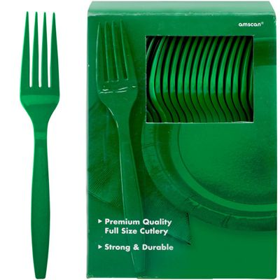 Green Plastic Spoons - 100 Pack