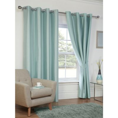 Hamilton McBride Faux Silk Eyelet Blackout Duck Egg Curtains - 90x72 Inches (229x183cm)