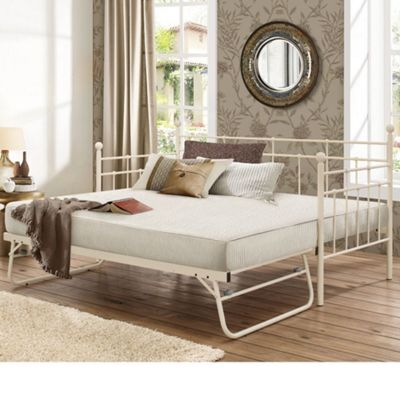 Happy Beds Lyon Metal Day Bed and Underbed Trundle Guest Bed with 2 Pocket Spring Mattresses - Cream - 3ft Single