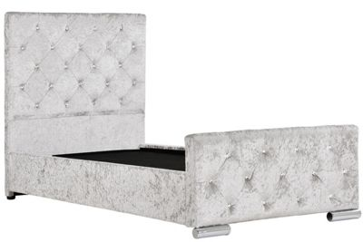 Beaumont Diamante Silver Crushed Velvet Under Storage Girls Single Bed