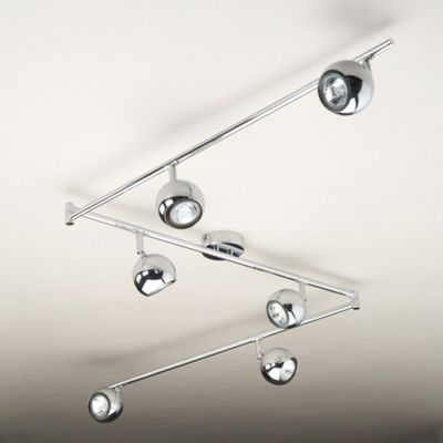 Retro Six Way Adjustable Ceiling Spotlight, Chrome