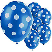 Blue Decorative Polka Dots 12 inch Latex Balloons - 6 Pack