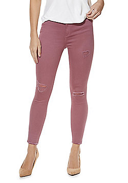 F&F Ripped Ankle Grazer Skinny Twill Trousers - Dusky pink