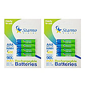 8 x Starmo AAA MN2400 900mAh HR03/1.2V Rechargeable Batteries