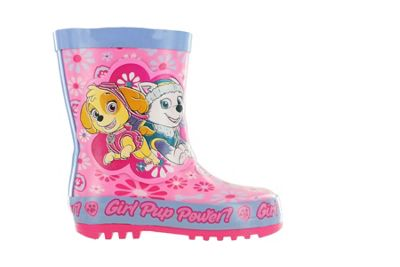 Girls Paw Patrol Pink Floral Thick Rubber Wellies Boots Size 6