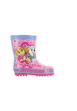 Girls Paw Patrol Pink Floral Thick Rubber Wellies Boots Sizes UK Infant 5 - 10 - Pink
