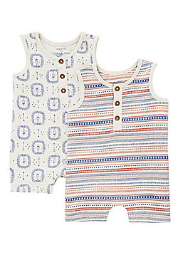 F&F 2 Pack of Lion Print Sleeveless Rompers - Beige