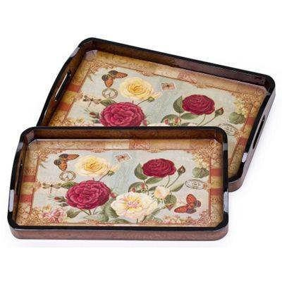 2 Piece Traditional Red Rose Wooden Serving Trays with Handles