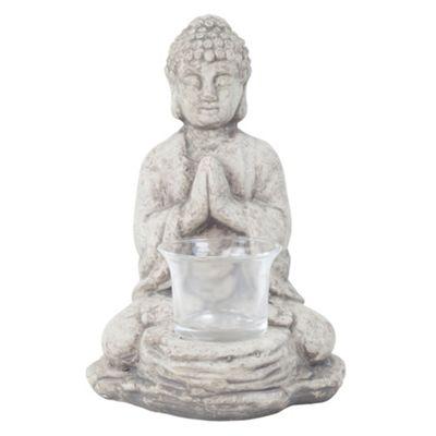 18cm Grey Terracotta Sitting Buddha Tealight Holder Garden or Home Ornament