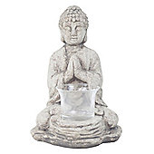 18cm Grey Terracotta Sitting Buddha Tealight Holder Garden or Home Ornament