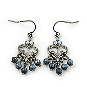 Vintage Inspired Black Bead, AB Crystal Filigree Drop Earrings In Antique Silver Metal - 40mm Length