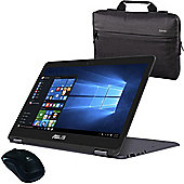 """ASUS ZenBook UX360CA 13.3"""" Convertible Touchscreen Laptop Intel Core M5-6Y54 8GB 256GB SSD with Mouse & Laptop Bag"""