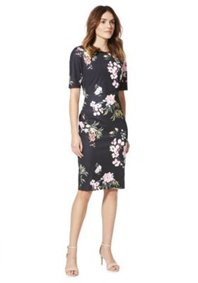 F&F Floral Print Scuba Dress Black/Multi 18