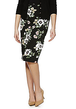 F&F Rose Print Pencil Skirt - Multi