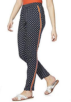 JDY Tile Print Side Stripe Trousers - Navy