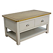 Wellington Grey Painted Oak Coffee Table with Storage - Solid Oak Top
