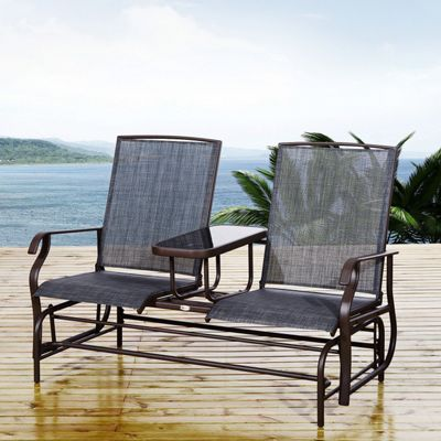 Outsunny Rattan Rocking Chair Double Seater