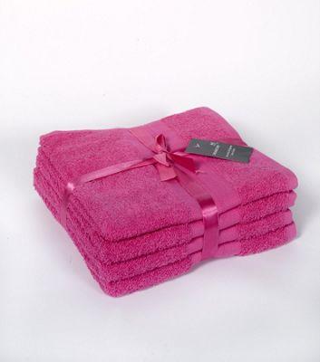Dreamscene Dreamscene Luxury 100% Egyptian Cotton Soft 4 Piece Hand Towel Bale Set Fuchsia