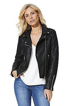 Vila Faux Leather Biker Jacket - Black