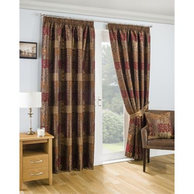 Marrakesh Pencil Pleat Terracotta Lined Curtains - 46x54 Inches (117x137cm)