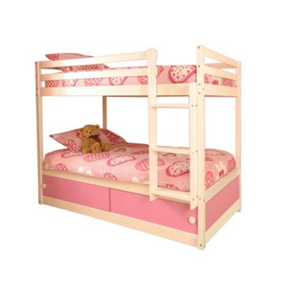 Comfy Living 3ft Single Children's Slide Storage Bunk Bed with Pink Slide Storage with 2 Sprung Mattresses