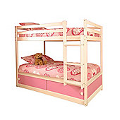 Comfy Living 3ft Single Children's Slide Storage Bunk Bed with Pink Slide Storage with Sprung Mattress