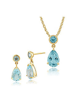 Gemondo 9ct Yellow Gold 3.24ct Blue Topaz Two Stone Drop Earrings & 45cm Necklace Set