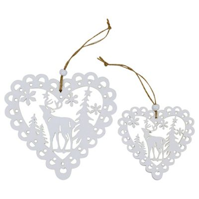 Set of 2 White Wooden Cut-out Scandi Heart Christmas Tree Decorations