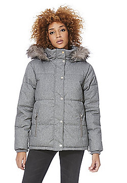 F&F Shower Resistant Hooded Padded Jacket - Grey