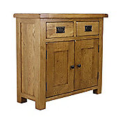 Rustic Solid Oak - Mini Sideboard 2 Door 2 Drawer Storage Unit