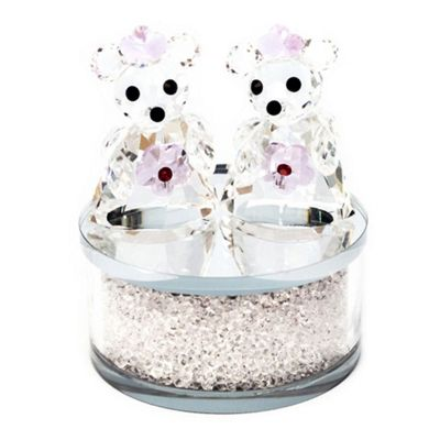 Pair of Crystal Bears Ornament with Circular Frosted Glass Base