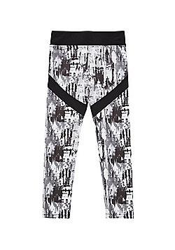 F&F Active Blurred Marble Print Leggings - Black & White